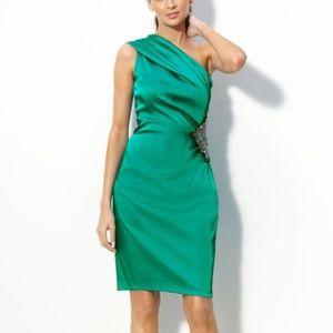 David Meister Beaded One Shoulder Emerald Dress